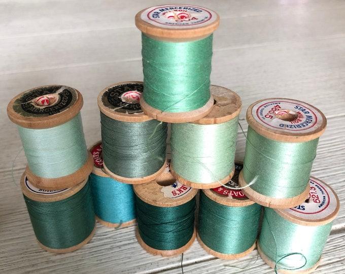 Vintage Wooden Spools Green Thread Lot GN3