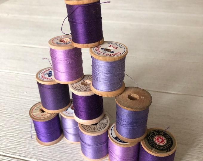 Vintage Wooden Spools Purple Thread Lot PU1