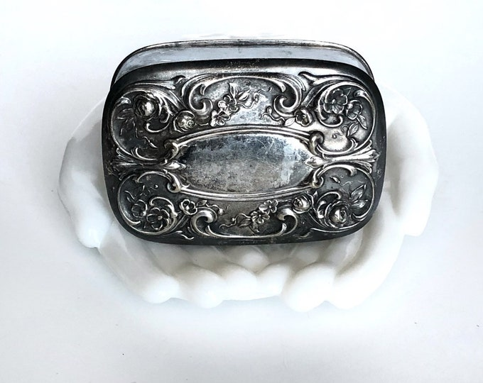 Soap Tin Silver Traveling Box Storage Art Nouveau Vanity Boudoir Bathroom