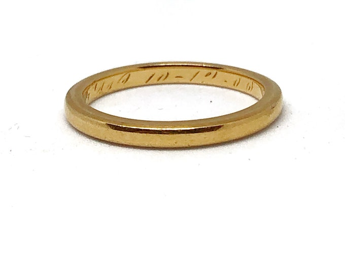18K Gold Band Antique Engraved Wedding Stacking Ring Solid Gold Size 6-3/4 to 7 Statement Fine Jewelry