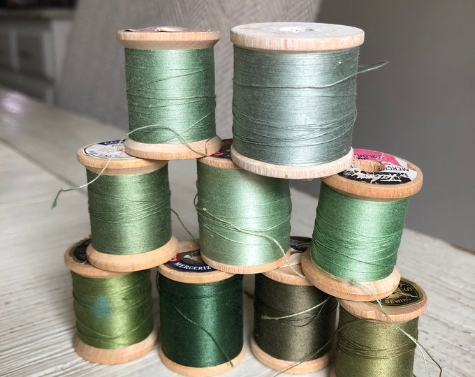 Vintage Wooden Spools Green Thread Lot GN5