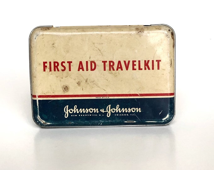 First Aid Kit Vintage Tin Johnson & Johnson Travelkit
