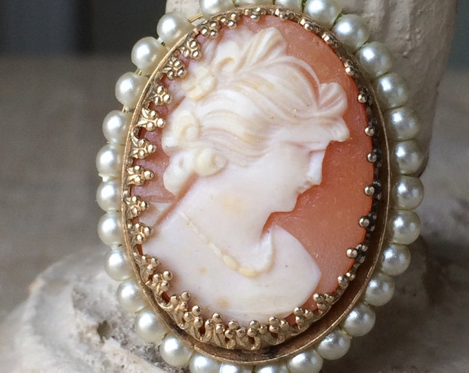 Cameo Brooch Pearls Hand Carved Shell Vintage Pin