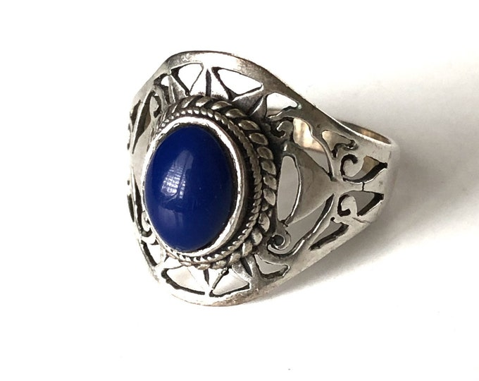 Lapis Lazuli Ring Sterling Silver Blue Boho Tribal Size 8