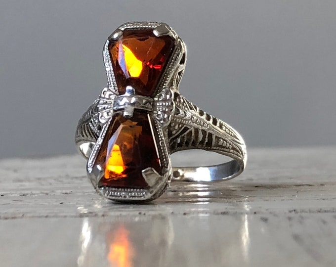 Madeira Citrine Bow Ring 18K White Gold Vintage Art Deco Statement