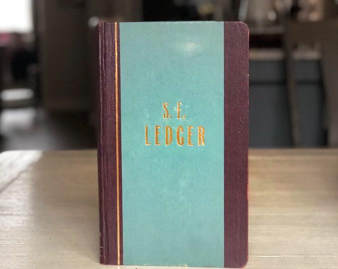 Vintage Ledger Book for Repurposing Aqua Blue Journal Art Sketchbook
