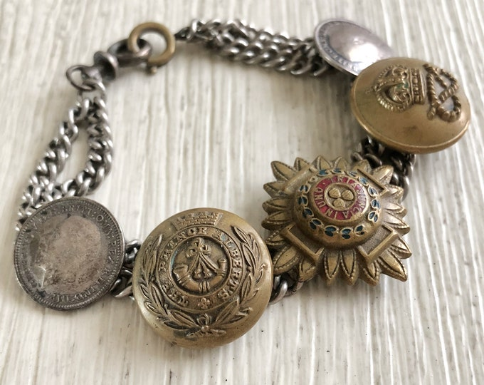 WWII Trench Art Sweetheart Bracelet Order of Bath, Military Buttons, Coins