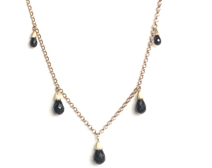 14K Yellow Gold Black Onyx Briolette Dangle Fringe Necklace Vintage Festoon
