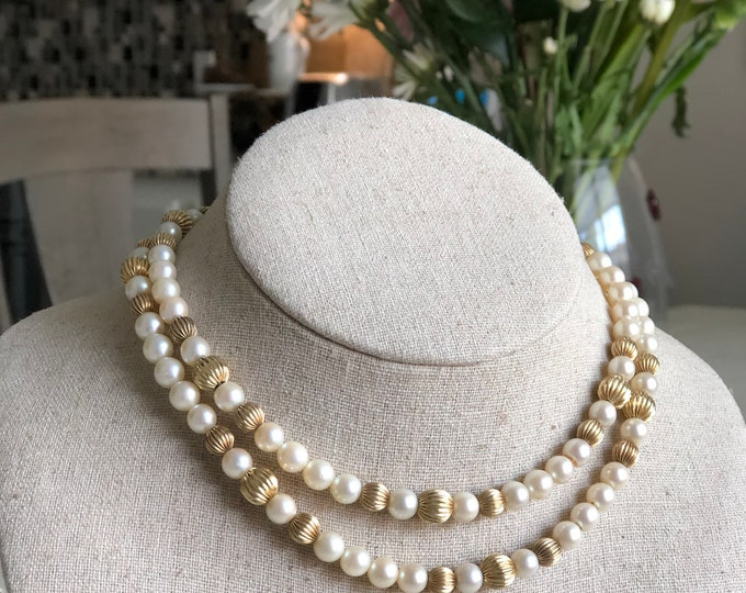 14K Gold Pearl Necklace Vintage Fine Jewelry Fancy Gold Beads Ivory White Pearls Long 30""