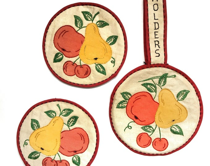 Embroidered Potholders Handmade  Appliqued Vintage Cottage Kitchen Fruit