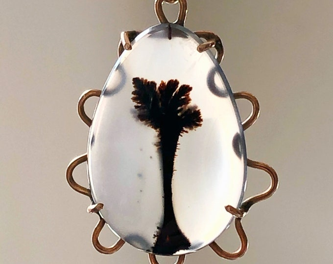 Dendritic Agate 10k Gold Pendant Antique Charm