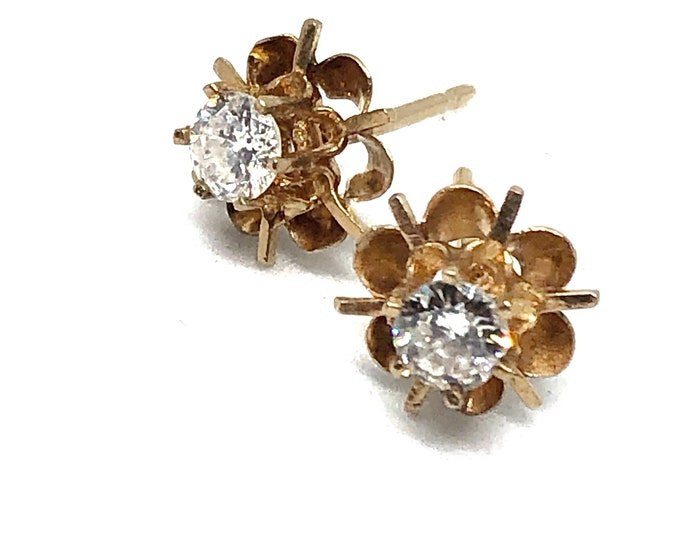 1/2 Carat Diamond Earrings .50ct Vintage 14k Gold Buttercup Settings