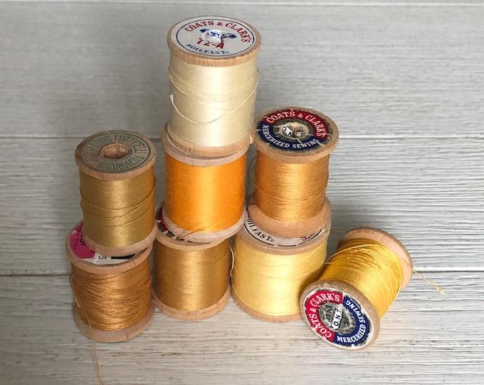 Vintage Wooden Spools Summer Yellow Harvest Gold Thread Lot