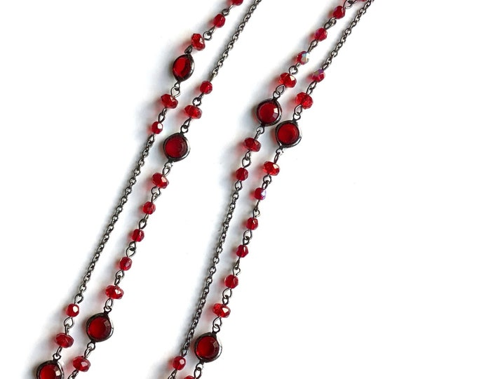 Red Crystal Station Necklace Vintage 1928 Jewelry Co. Long Black Chain