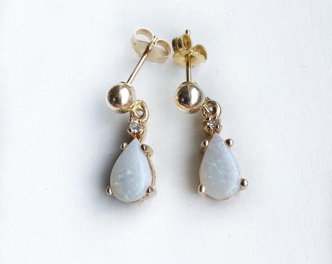 14k Gold Opal Diamond Earrings Vintage Fine Jewelry