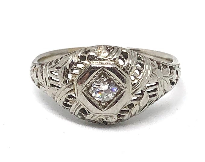 Antique Diamond Ring 18K White Gold Wedding Vintage Bride Art Deco Engagement