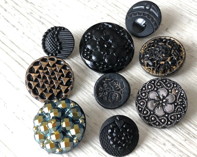 Glass Buttons Black & Gold Antique Iridescent Vintage Sewing Jewelry