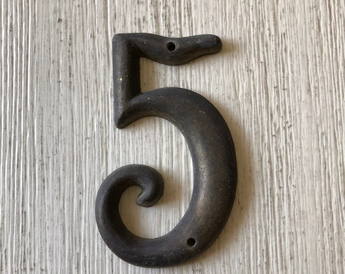 Number Five 5 Vintage House Sign Heavy Brass