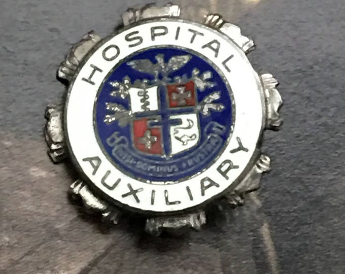 Hospital Auxiliary Pin Sterling Silver Enamel Vintage Brooch