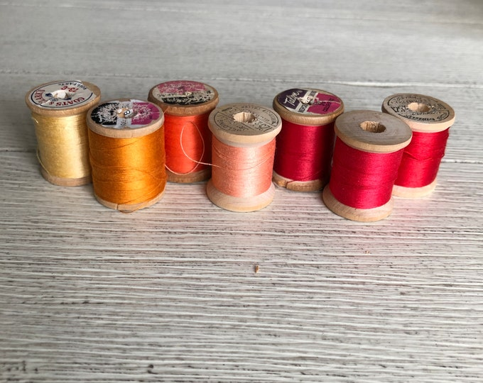Vintage Wooden Spools Orange Red Summer Sunset Thread Lot