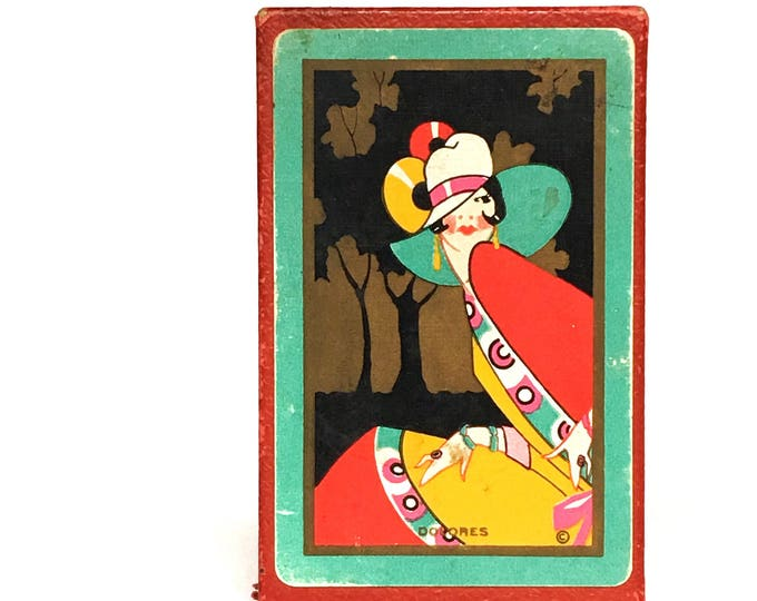 Playing Cards Deck Art Deco 'DOLORES' Flapper Girl 1920s-30s Original Box Congress 606