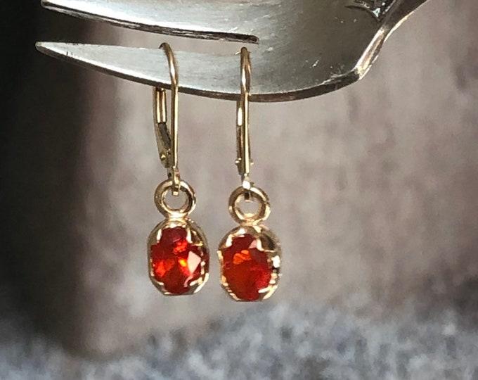 14k Gold Fire Opal Earrings Vintage Fine Jewelry