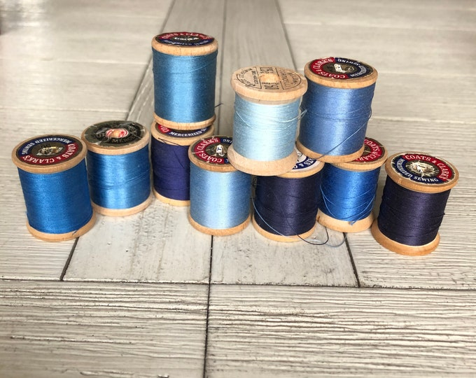 Vintage Wooden Spools Blue Thread Lot BL3