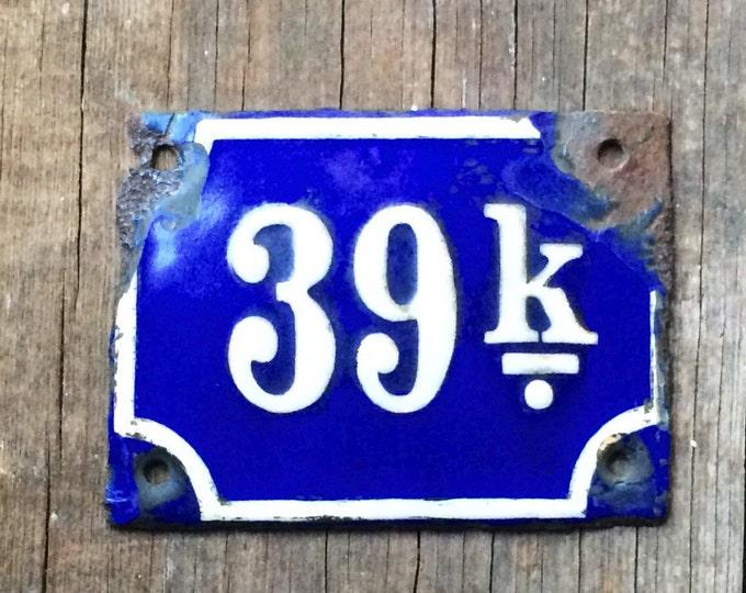 Antique Enamel Vintage Porcelain Sign Cobalt Blue 39 K