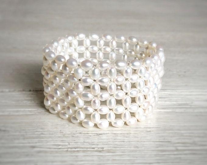 Wide Freshwater Pearl Woven Stretch Bracelet