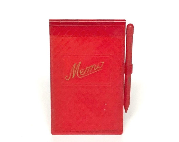 Memo Book Vintage Red Celluloid & Tiny Pencil
