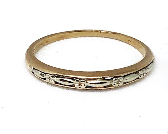 14k Gold Wedding Band Antique Petite Two Tone Stacking Layering Ring