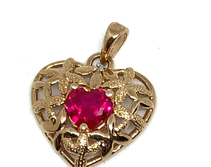 10K Gold Heart Charm Synthetic Ruby Vintage Fine Jewelry