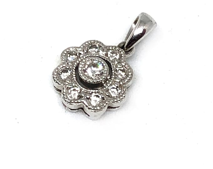Exquisite Diamond Pendant 14k White Gold Milgrain