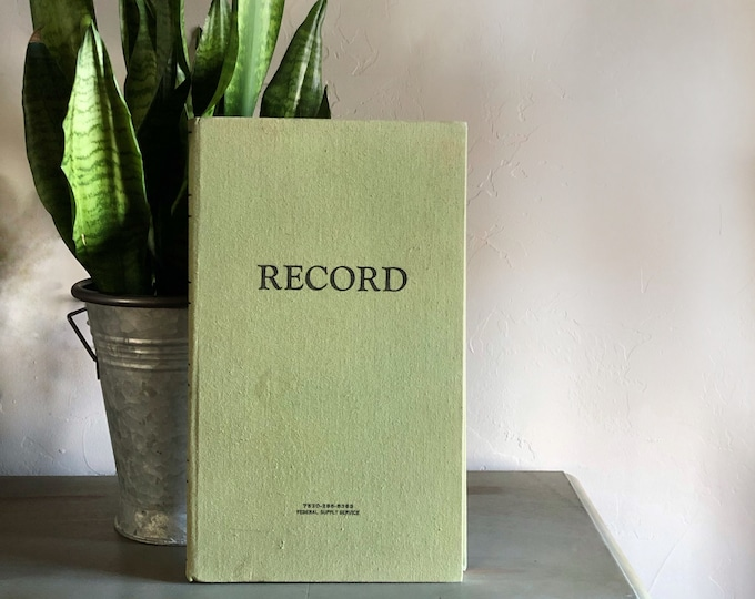 Vintage Ledger Record Book for Repurposing Green Journal Art Sketchbook