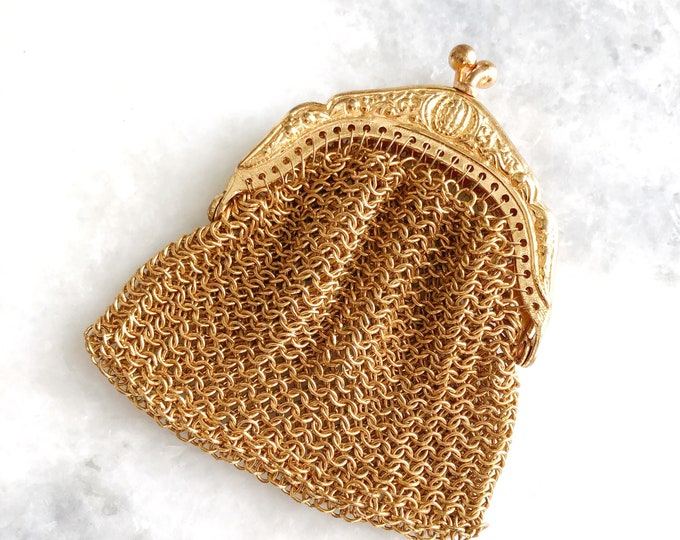 Antique Chainmaille Coin Purse Gold Chain Mail Metal Mesh Tiny Purse Bridal Memento Germany