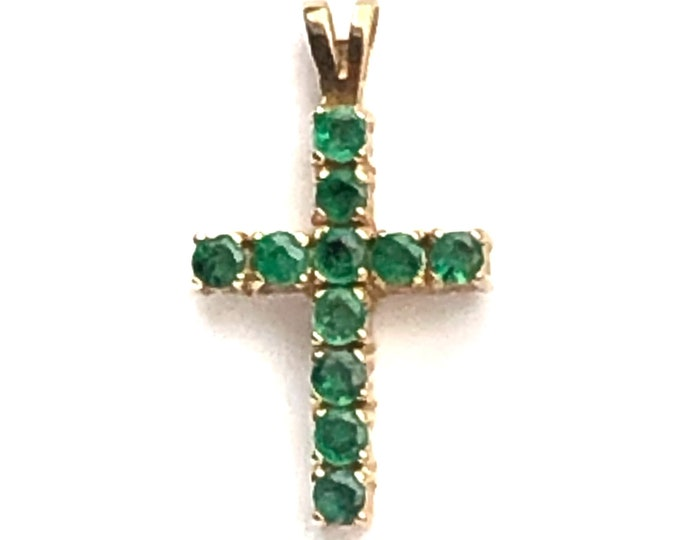 14k Solid Gold Emerald Cross Pendant Neckmess Charm