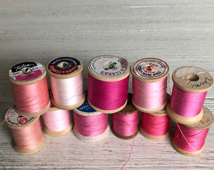 Vintage Wooden Spools Pink Thread Lot
