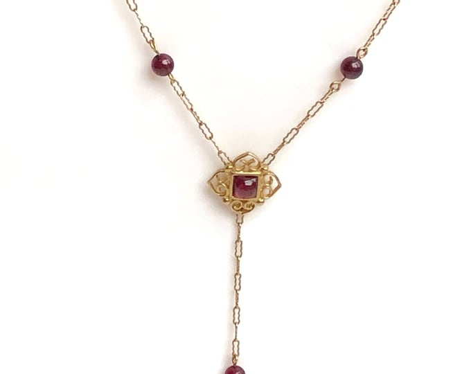 14K Yellow Gold Garnet Lavalier Y Necklace Vintage Peter Brams Designs PBD