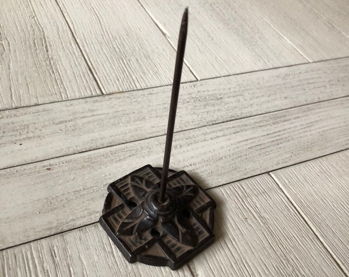 Antique Office Spindle Ornate Base Vintage Paper Spike Industrial Office Supply