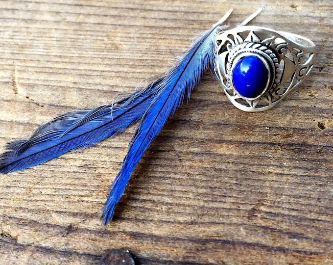 Vintage Lapis Lazuli Sterling Silver Ring Boho Tribal Size 8