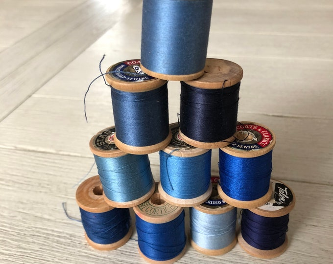 Vintage Wooden Spools Blue Thread Lot BL2