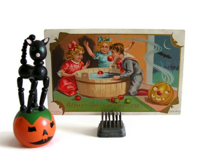 Halloween Postcard Apple Bobbing Antique Post Card Happy Hallowe'en
