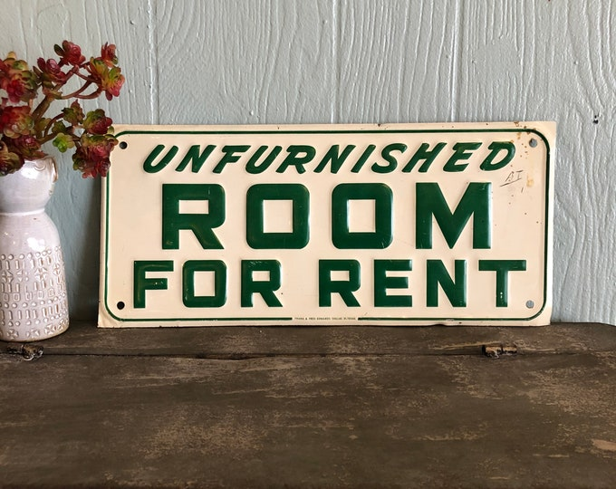 Unfurnished Room for Rent Vintage Metal Sign Green & Cream Industrial Decor