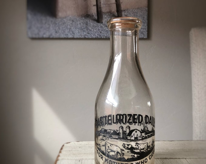 Milk Bottle Retro Glass Vintage Black Cow Graphics Bangor Dairy