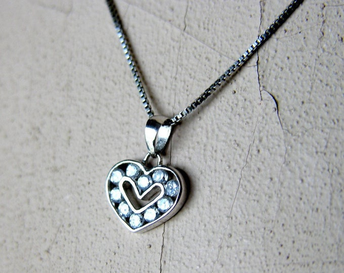 "Heart Necklace Silver Channel Set Faux Diamonds 18"" Box Chain Vintage Sterling Sweetheart Jewelry"