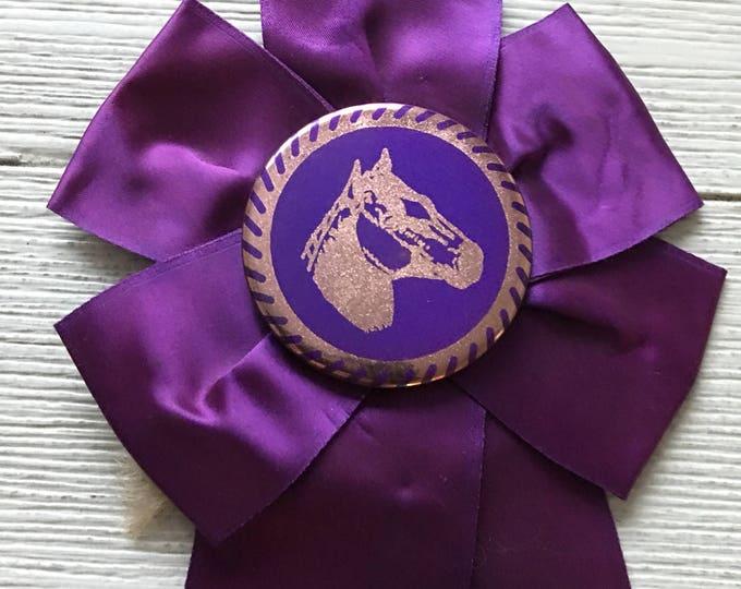 Horse Show Blue Ribbon First Place Prize Vintage Quarter Horse AQHA Award