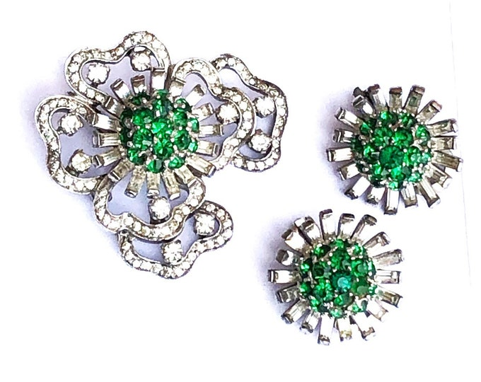 Pennino Sterling Rhinestone Earrings & Brooch Set Midcentury Vintage Glamour