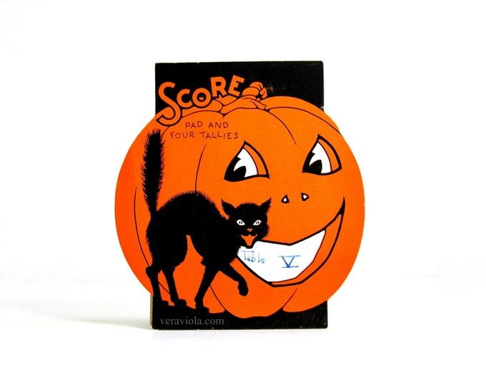Halloween Bridge Tally Jack O'Lantern Black Cat Vintage Score Pad