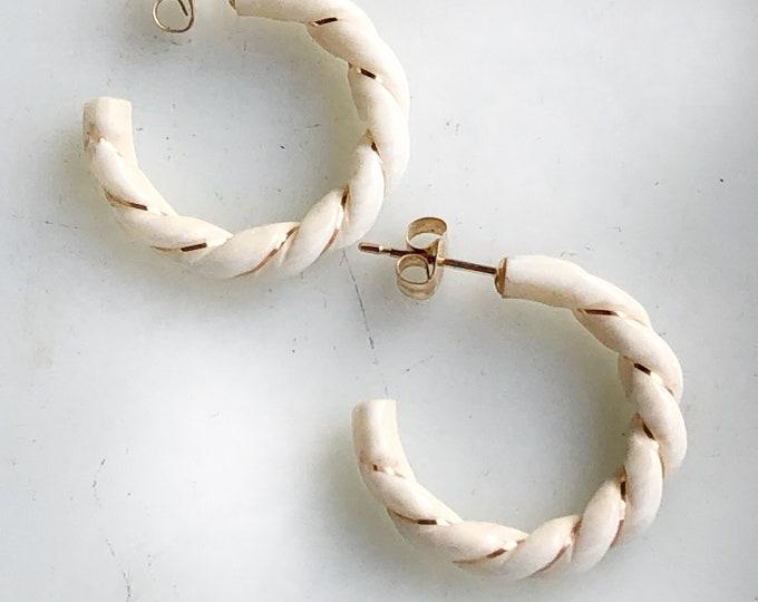 14k Gold Carved Bone Hoop Earrings