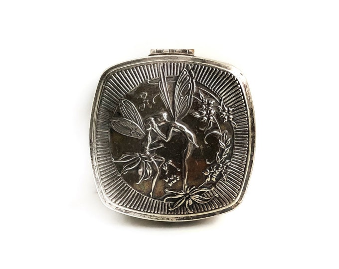 Vintage Djer Kiss Kissing Fairies Silver Compact 1920s